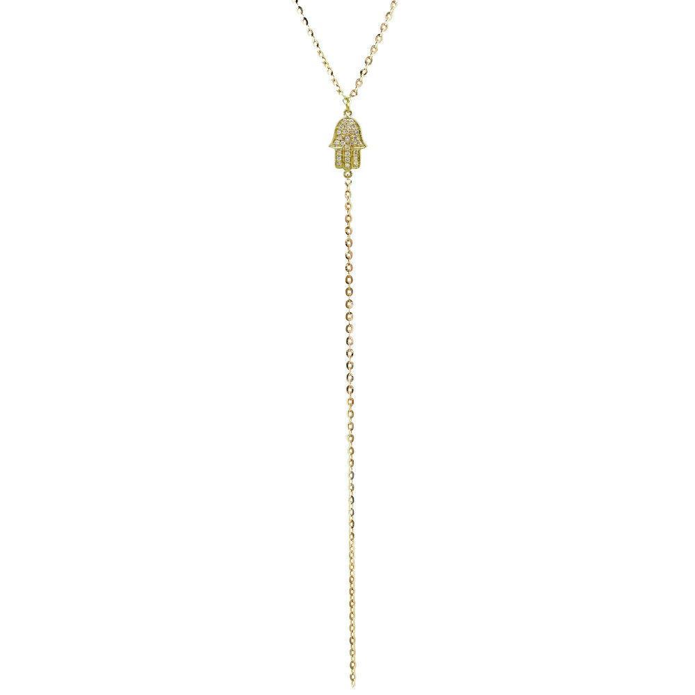 14k Yellow Gold Diamond Hamsa Hand of Fatima Lariat Necklace