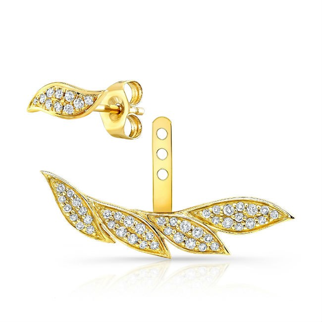 14k Yellow Gold Diamond Leaf Ear Jacket
