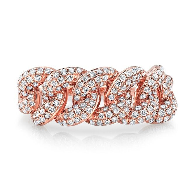 14k Rose Gold Pave Diamond Cuban Link Ring
