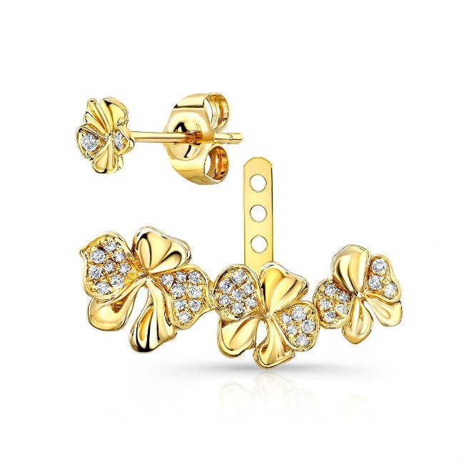 14k Yellow Gold Diamond Orchid Ear Jacket