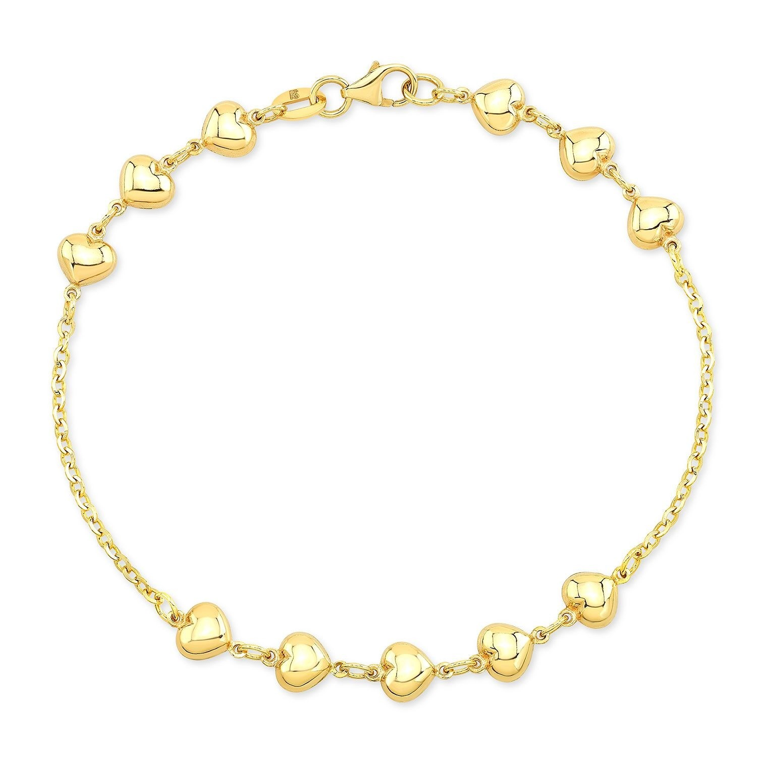14k Yellow Gold 11 Puffed Heart Bracelet