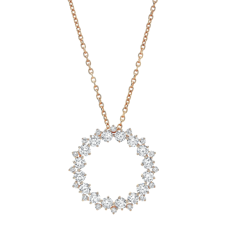 14k Rose Gold Diamond Eternity Necklace