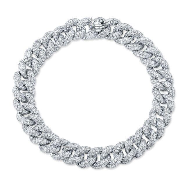 14k White Gold Pave Diamond Cuban Link Bracelet