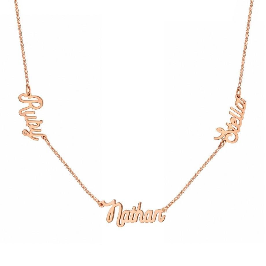 14K Rose Gold Triple Script Name Necklace