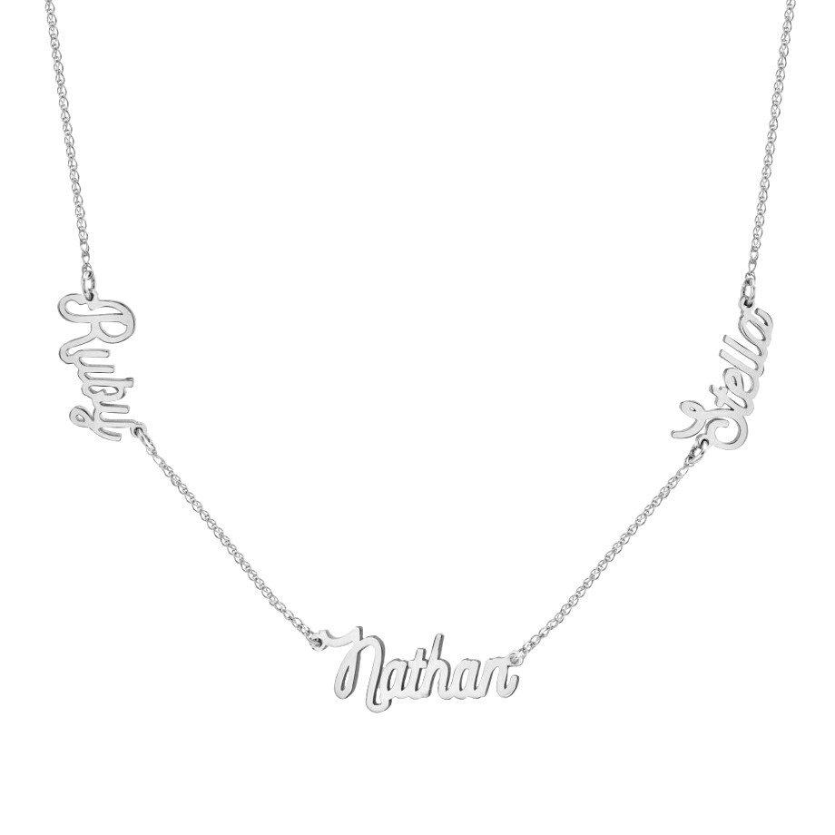 14K WHITE GOLD DIAMOND TRIPLE SCRIPT NAME NECKLACE