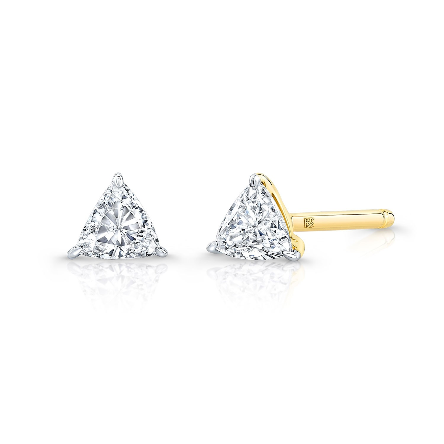 14k Yellow Gold Floating Trillion Cut Diamond Stud Earrings
