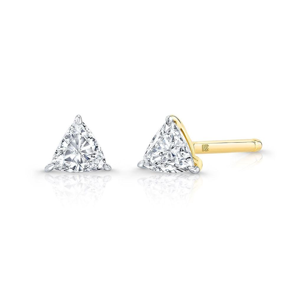 14k Yellow Gold Floating Trillion Cut Diamond Stud Earrings