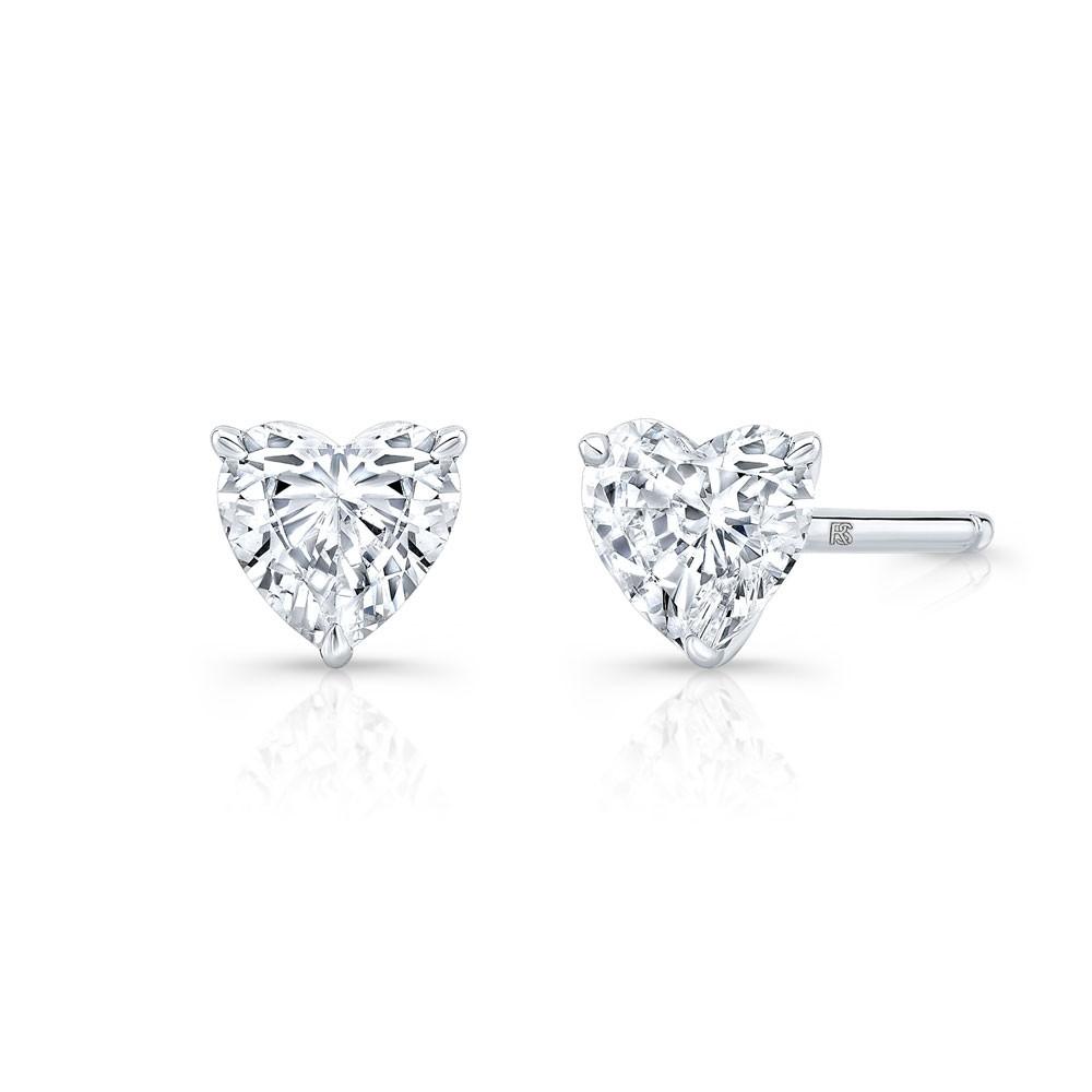 14k White Gold Floating Heart Cut Diamond Stud Earrings