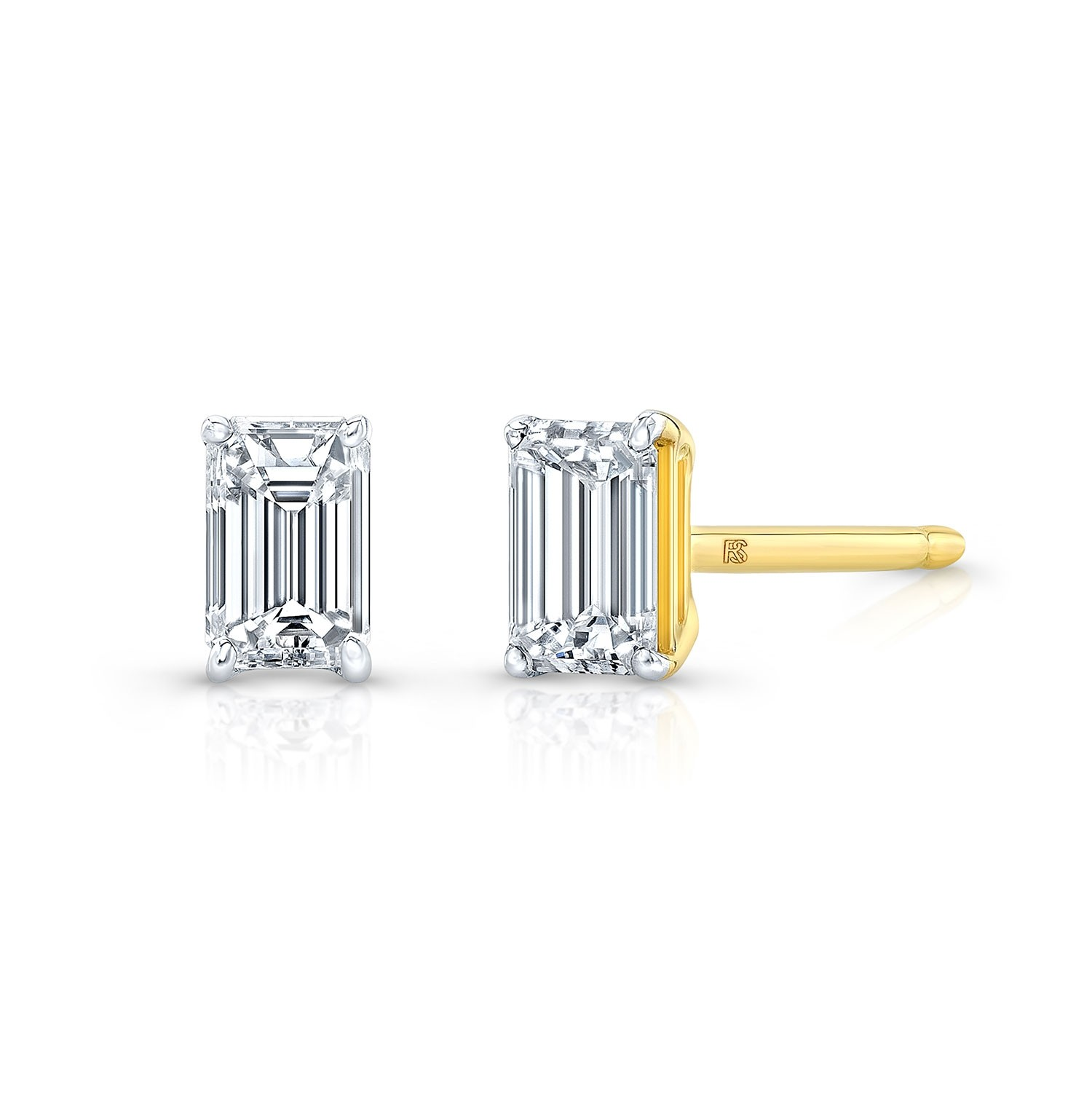 14k Yellow Gold Floating Emerald Cut Diamond Stud Earrings