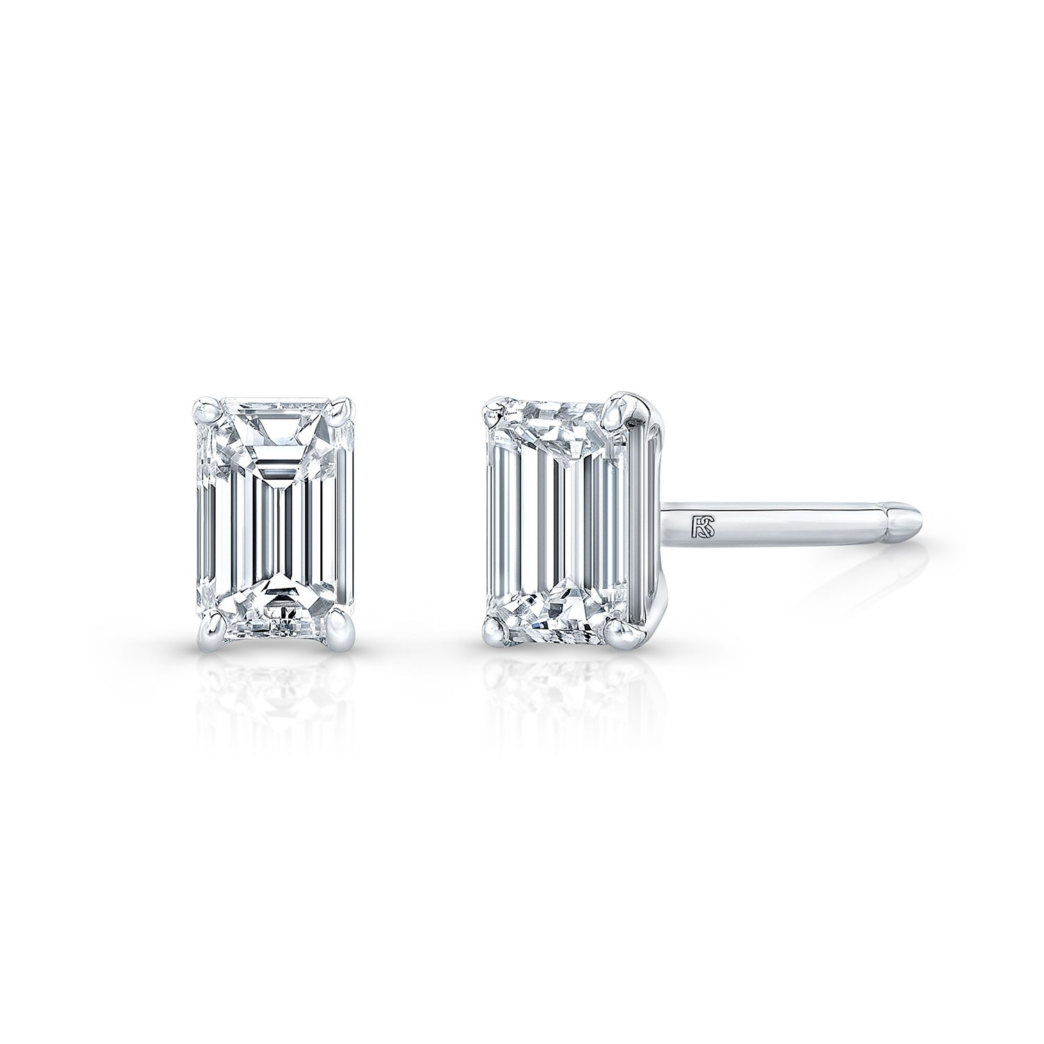14k White Gold Floating Emerald Cut Diamond Stud Earrings