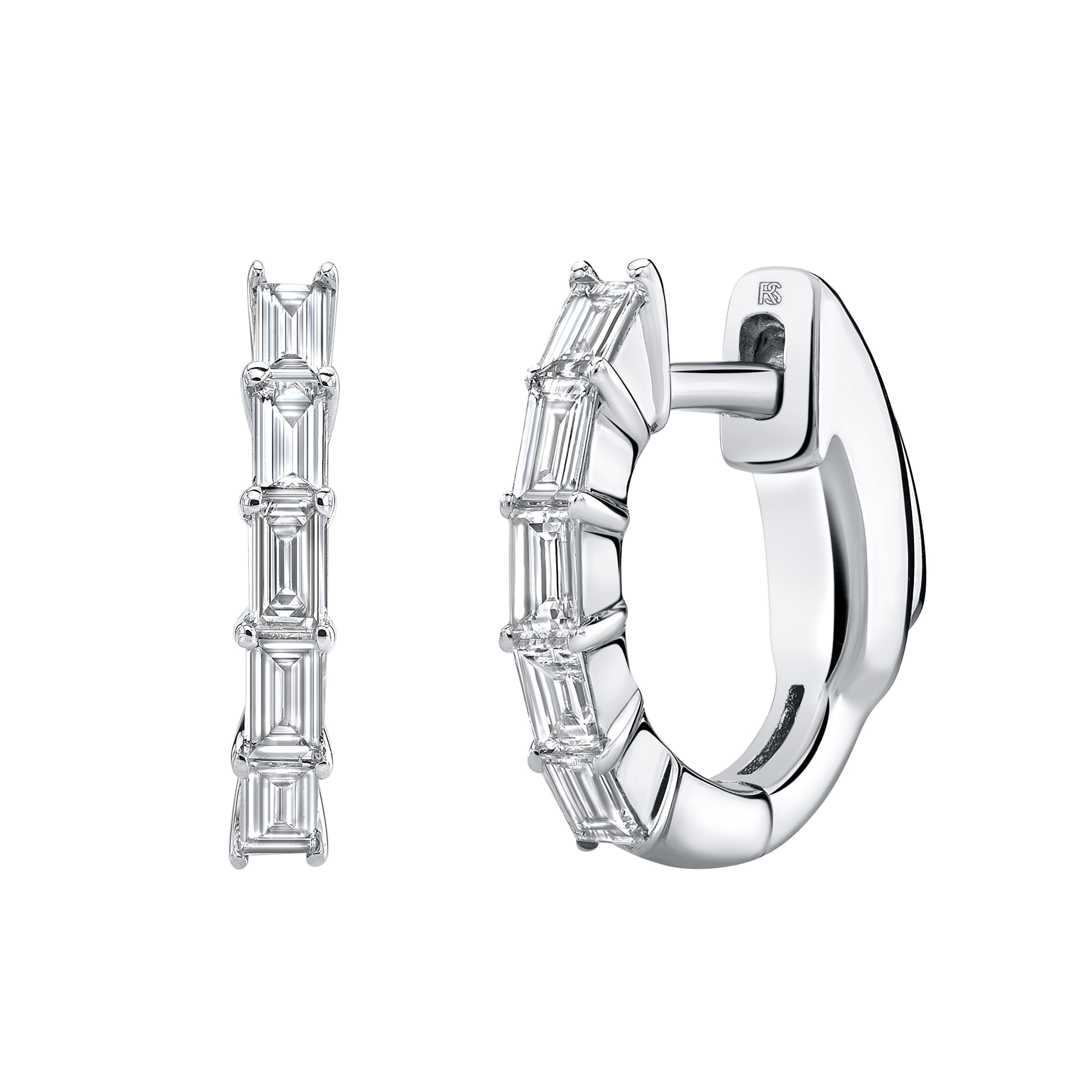 14k White Gold Diamond Baguette Huggie Hoops with Security Latch