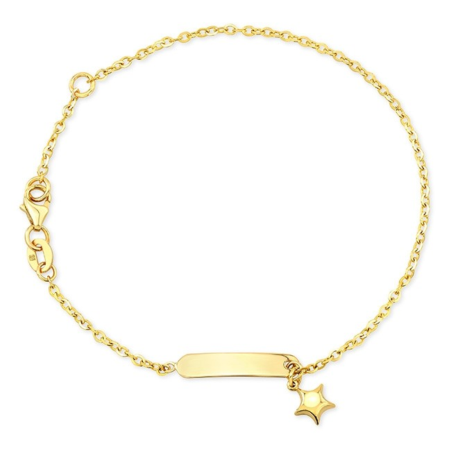 Kids' 14k Yellow Gold Star Mini ID Bracelet