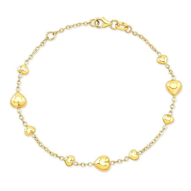 14k Yellow Gold 9 Puffed Heart Bracelet