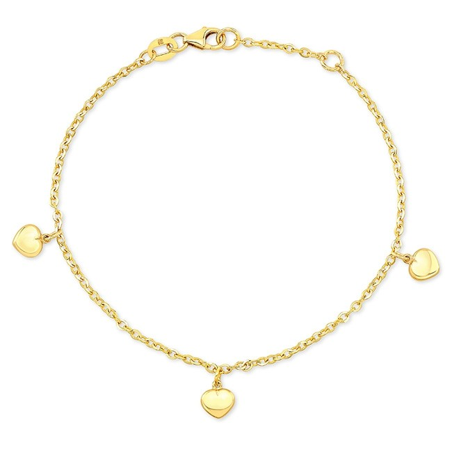 14k Yellow Gold Puffed Heart Charm Bracelet