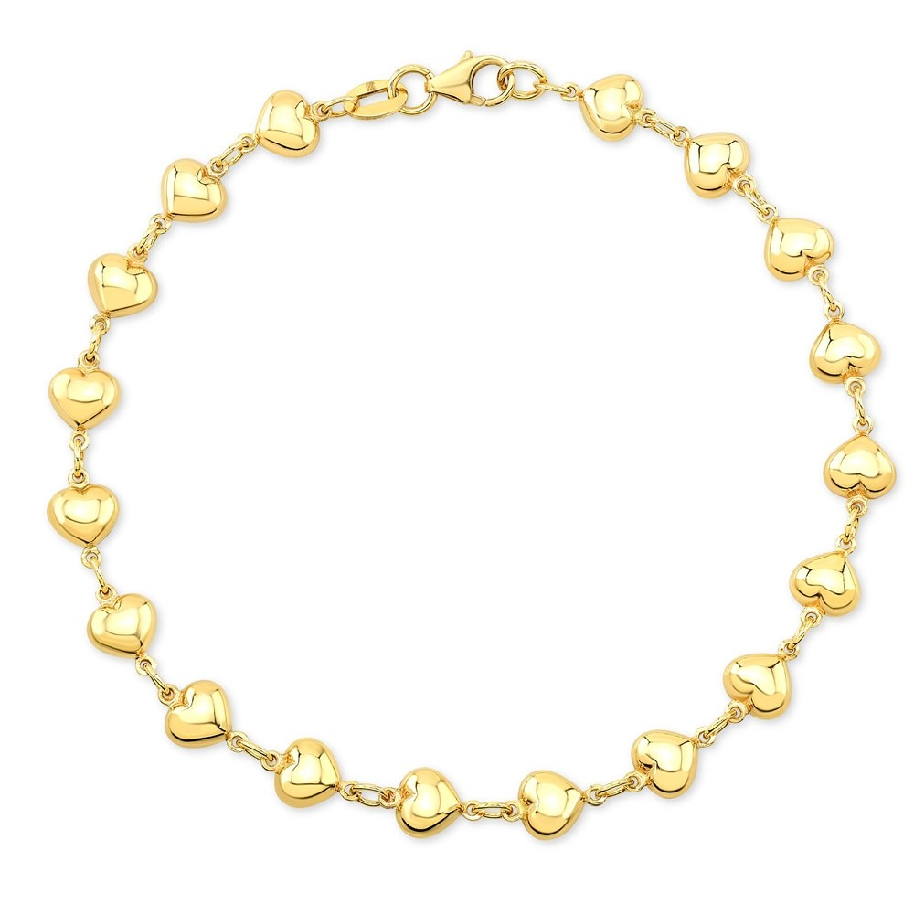 14k Yellow Gold Endless Puffed Heart Bracelet