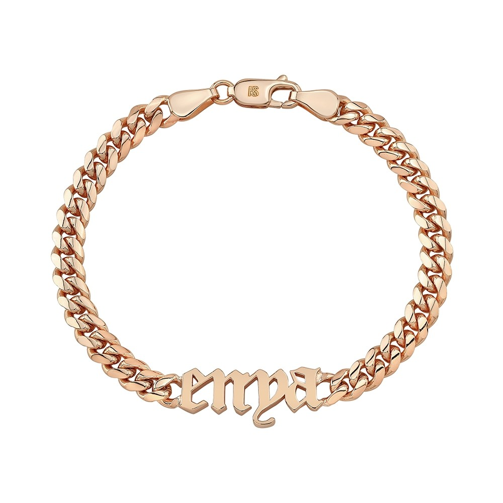 14k Rose Gold Miami Cuban Link Nameplate Bracelet