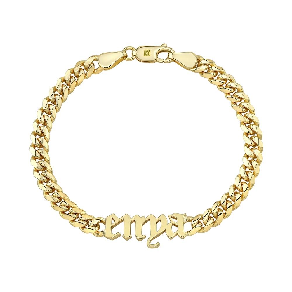14k Yellow Gold Miami Cuban Link Nameplate Bracelet