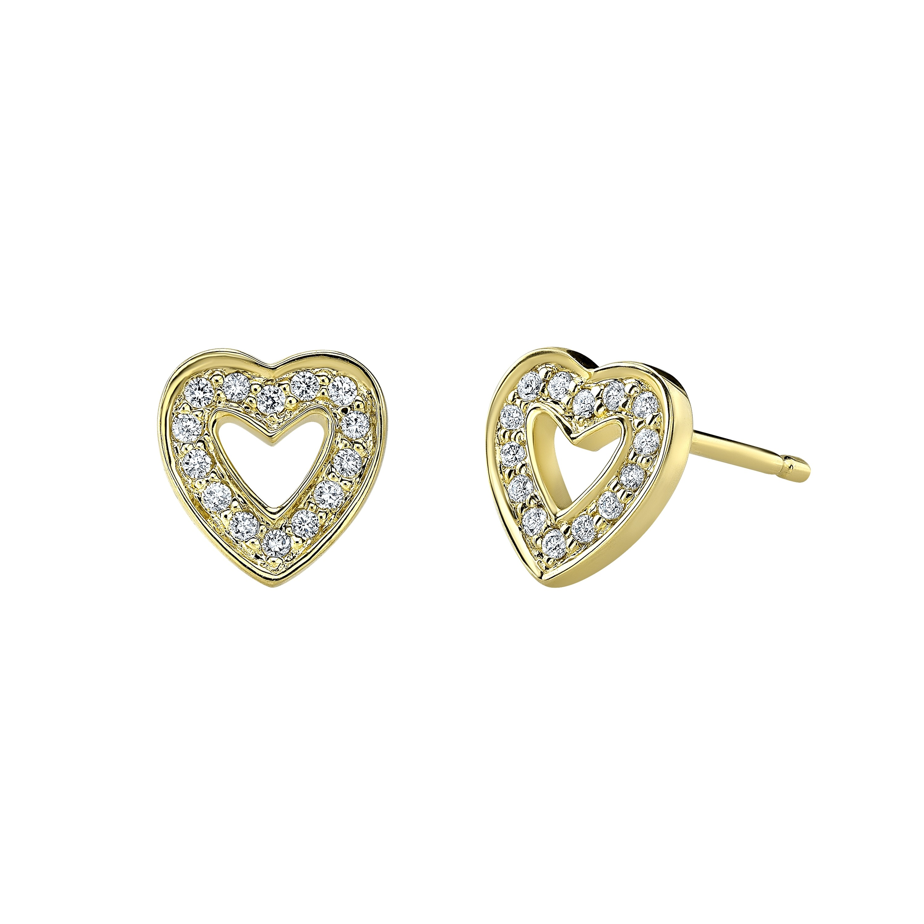 14k Yellow Gold Diamond Cut Out Heart Stud Earrings