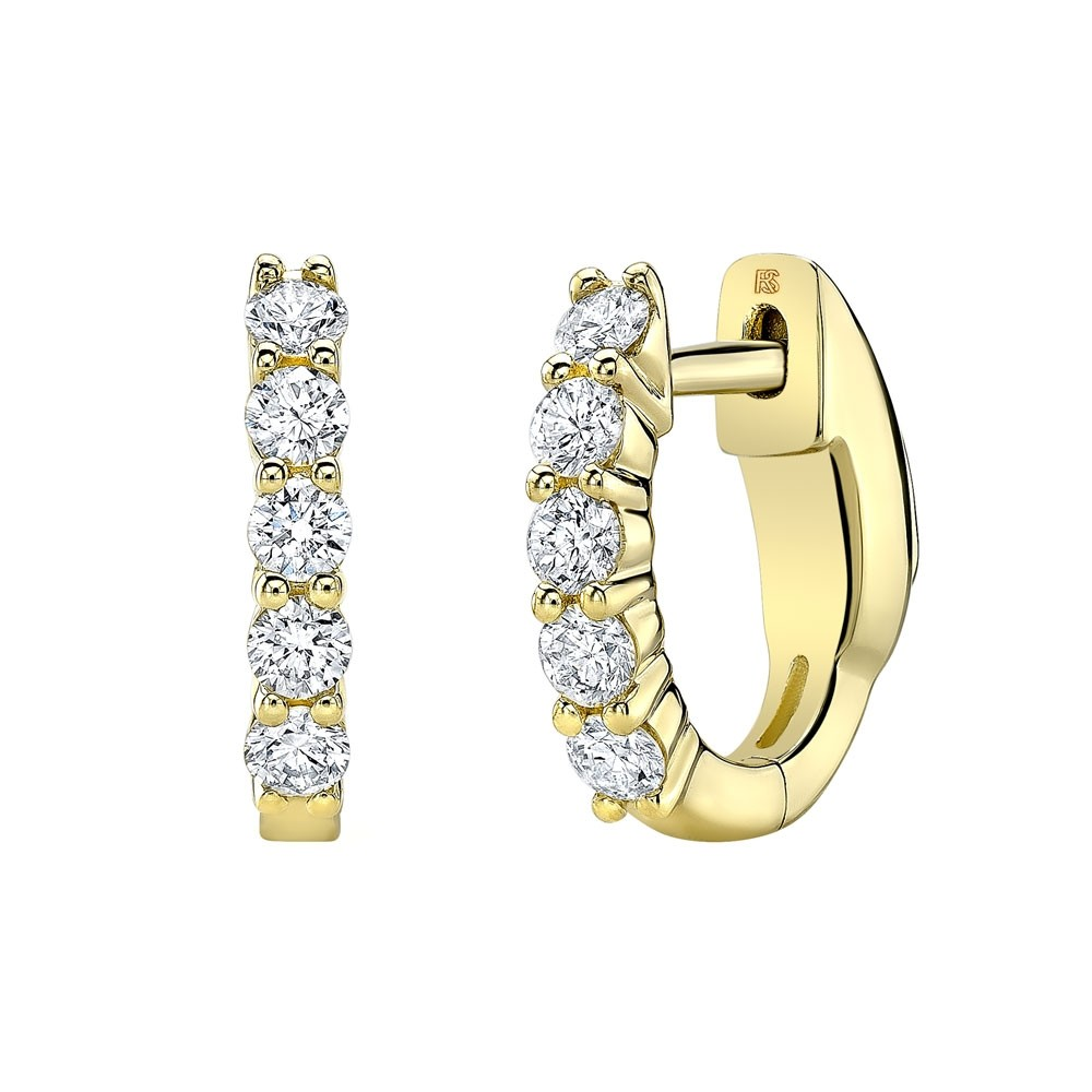 14k Yellow Gold Diamond Eternity Huggie Hoops with Security Latch