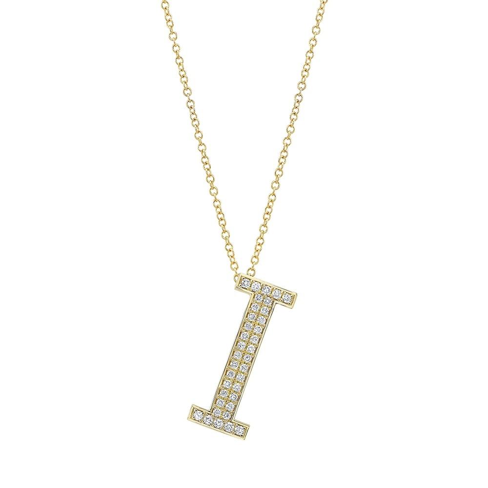 14k Yellow Gold Diamond Initial Letter Charm