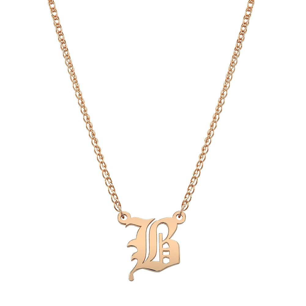 14k Rose Gold Old English Initial Necklace