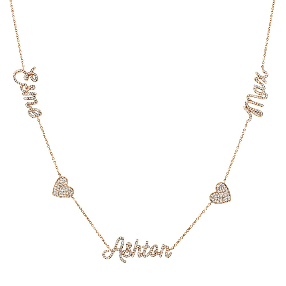 14k Rose Gold Diamond Heart Script Triple Name Necklace