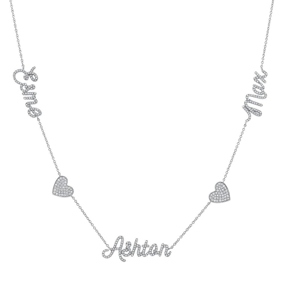 14k White Gold Diamond Heart Script Triple Name Necklace