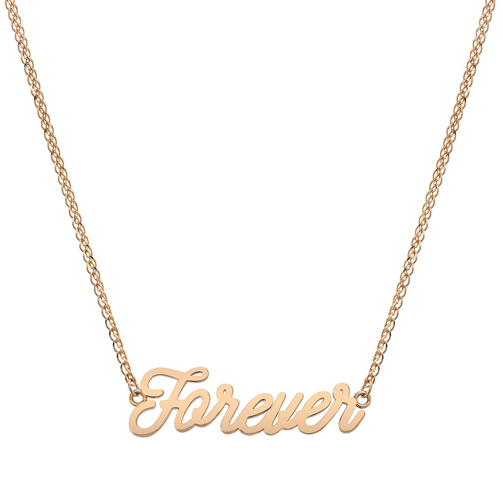 14k Rose Gold Script Mini Forever Necklace