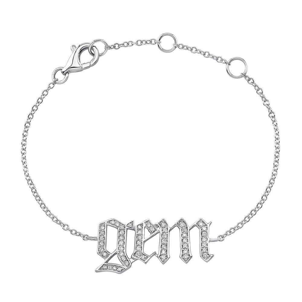 Kids' 14k White Gold Diamond Old English Name Bracelet