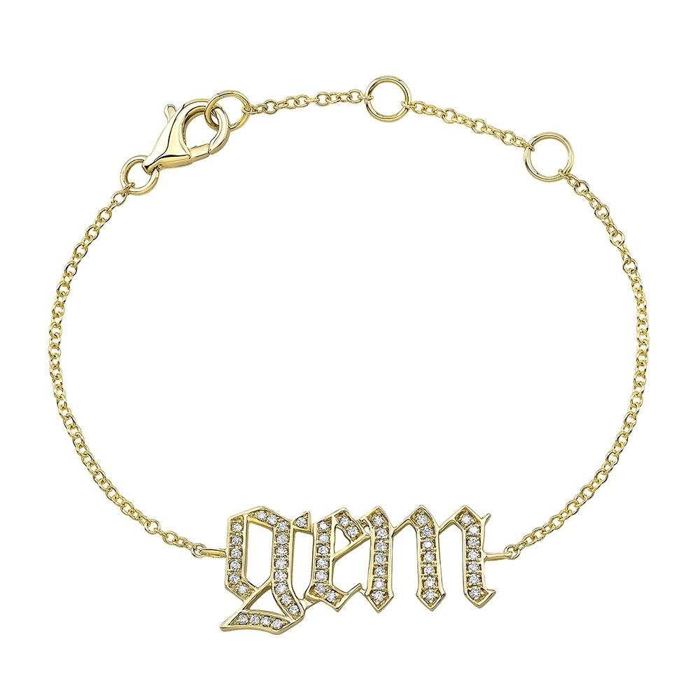 Kids' 14k Yellow Gold Diamond Old English Name Bracelet