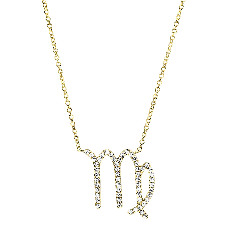 14k Yellow Gold Diamond Zodiac Necklace