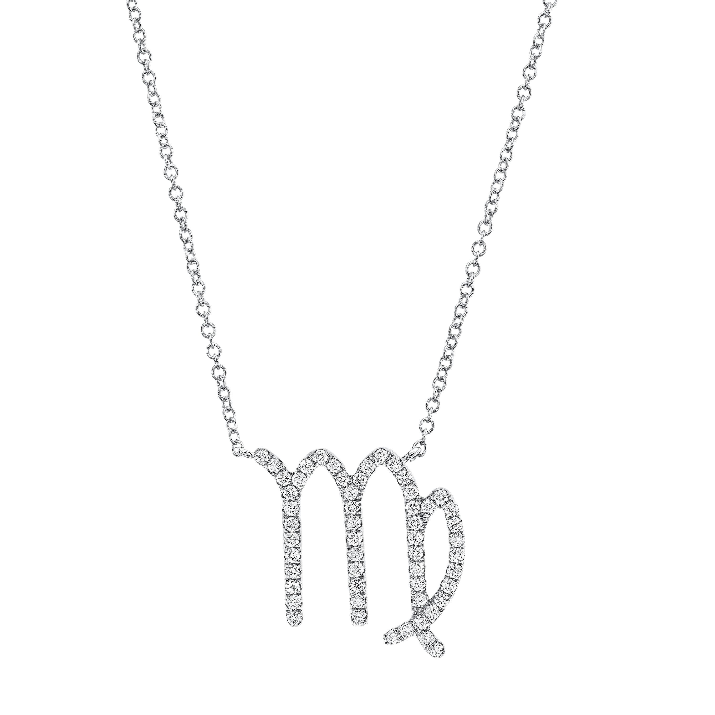 14k White Gold Diamond Zodiac Necklace
