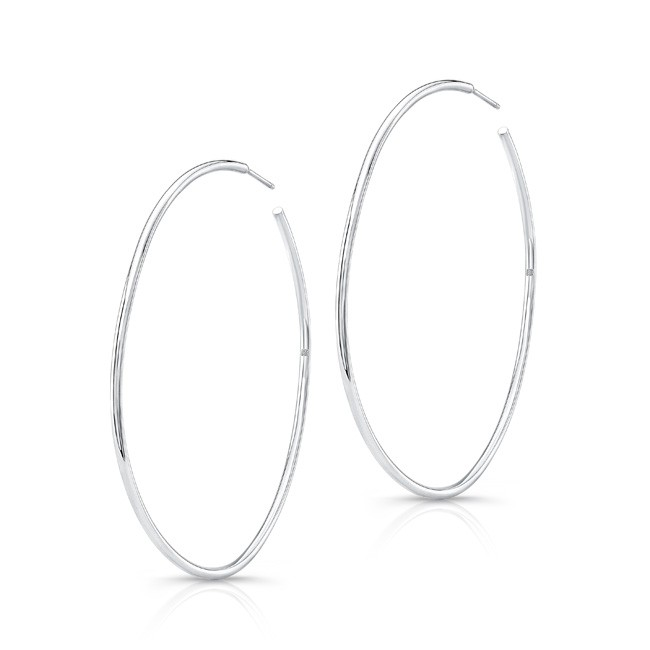 "14K White Gold 2"" Hoop Earrings"