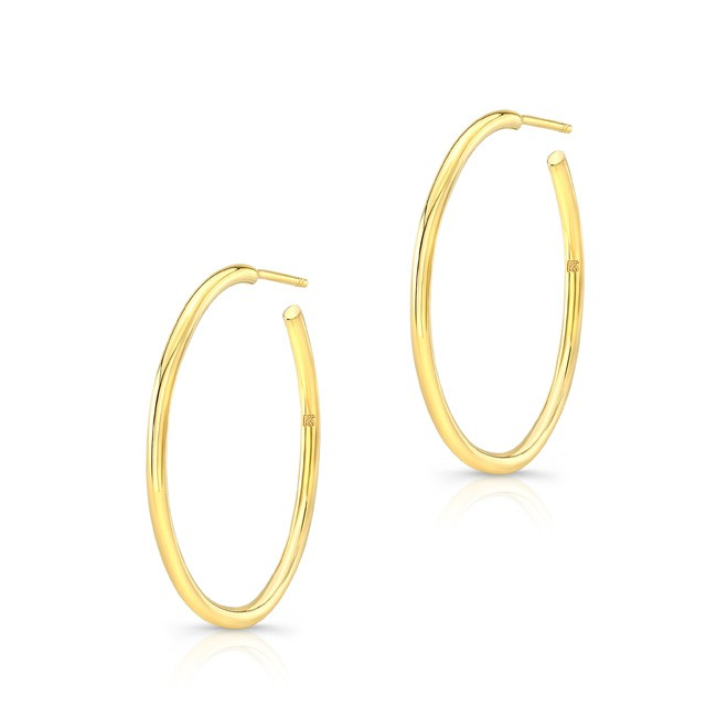 "14K Yellow Gold 1"" Hoop Earrings"