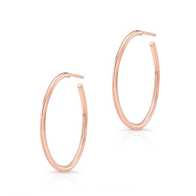 "14k Rose Gold 1"" Hoops"