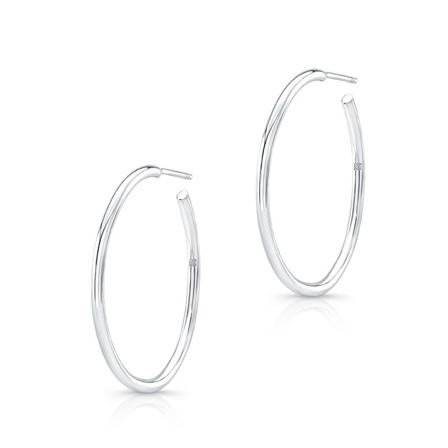 "14k White Gold 1"" Hoops"