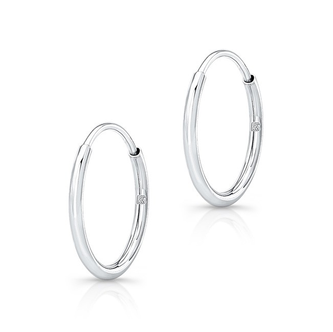 14k White Gold Comfy Hoops