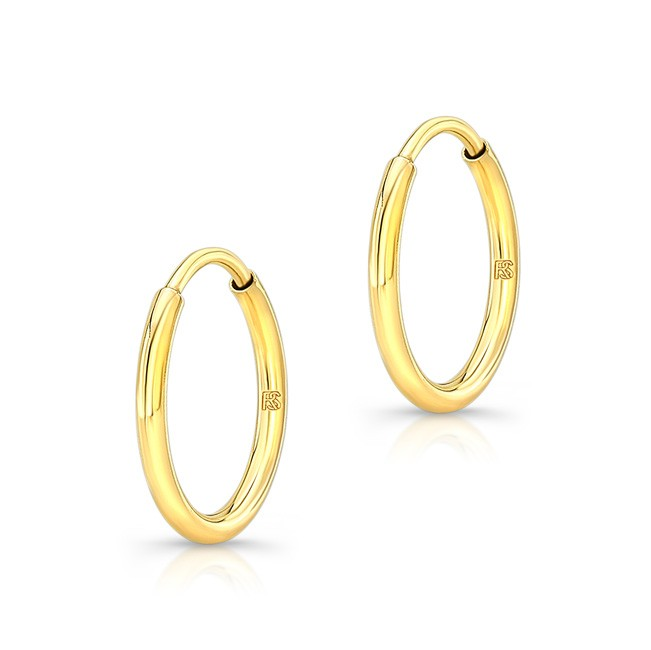 14K Yellow Gold 12mm Comfy Hoops