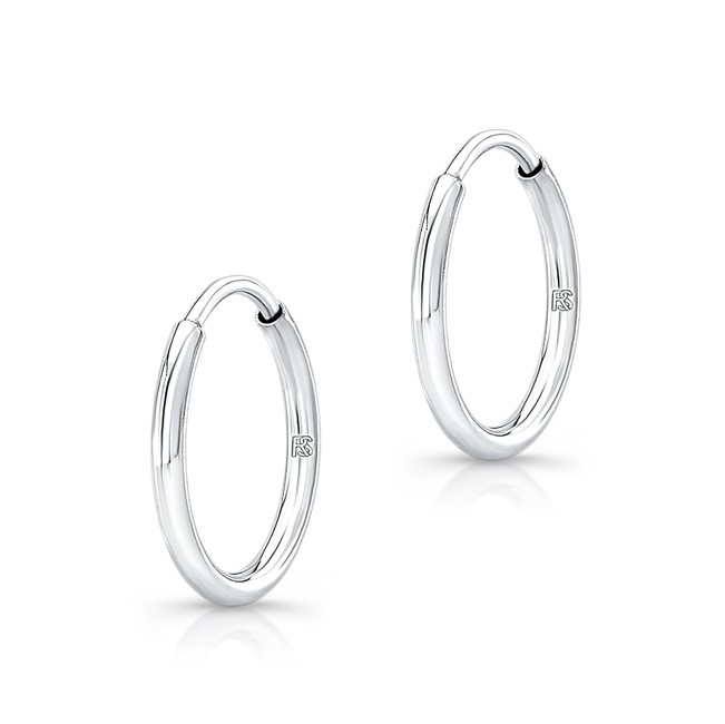 14K White Gold 12mm Comfy Hoops