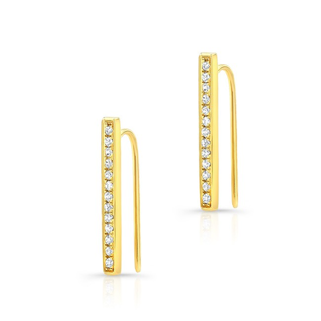 14k Yellow Gold Diamond Bar Hook Earrings