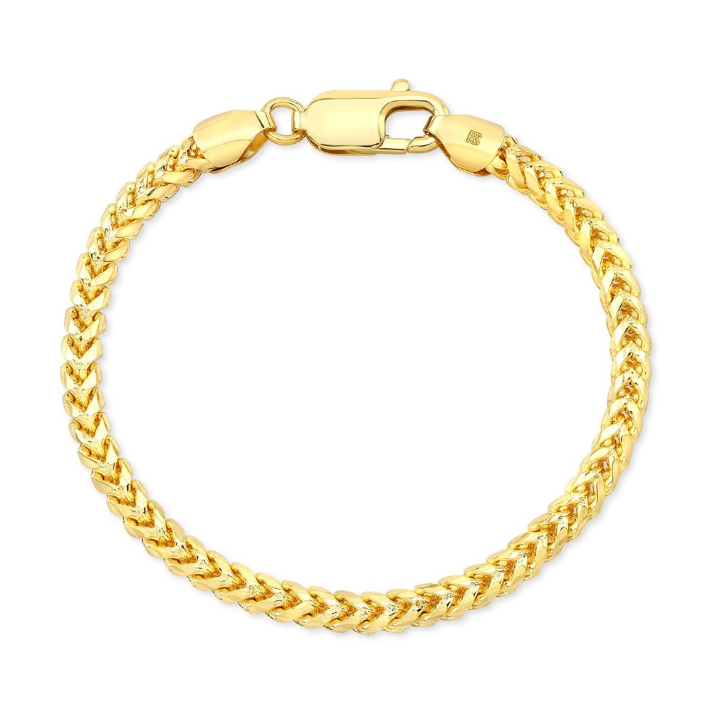 Men's 14k Yellow Gold Solid Franco Chain Bracelet