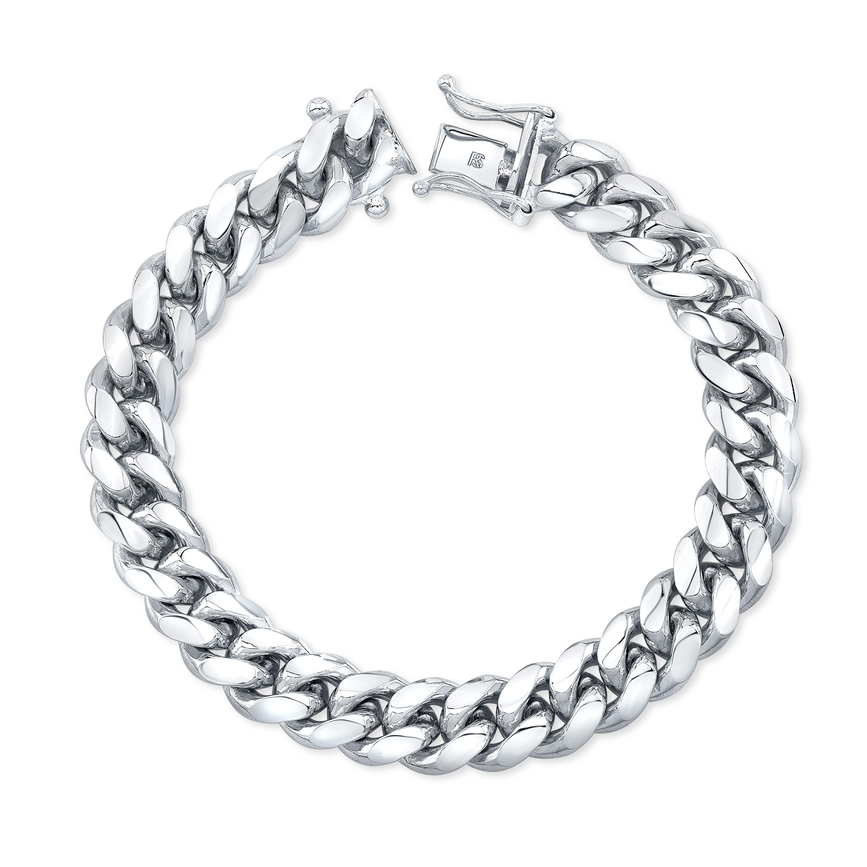 14k White Gold Solid Miami Cuban Link Bracelet