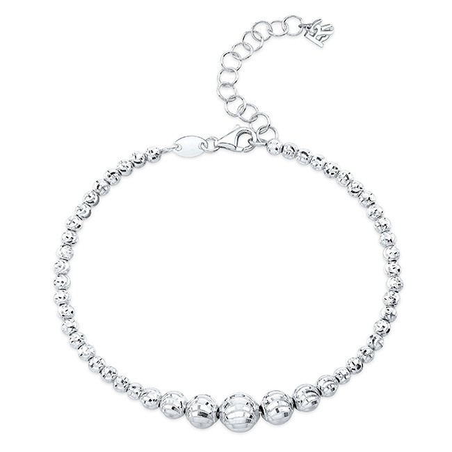 14k White Gold Graduated Diamond Cut Bead Bracelet
