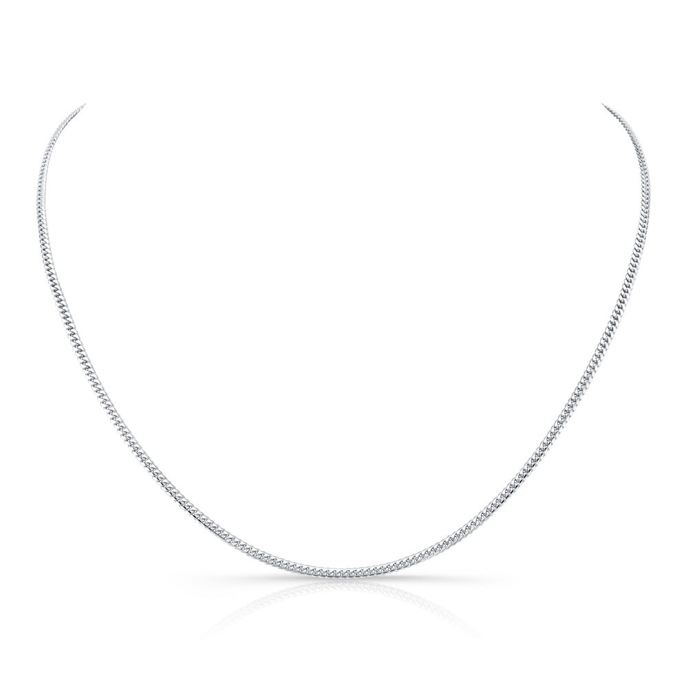 14k White Gold Mini Miami Cuban Necklace