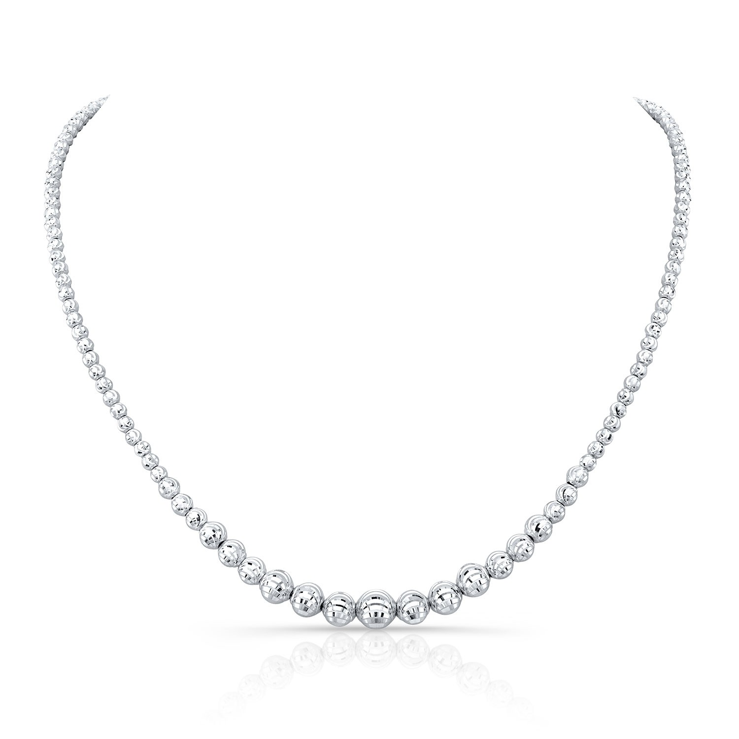 14k White Gold Graduated Diamond Cut Bead Choker