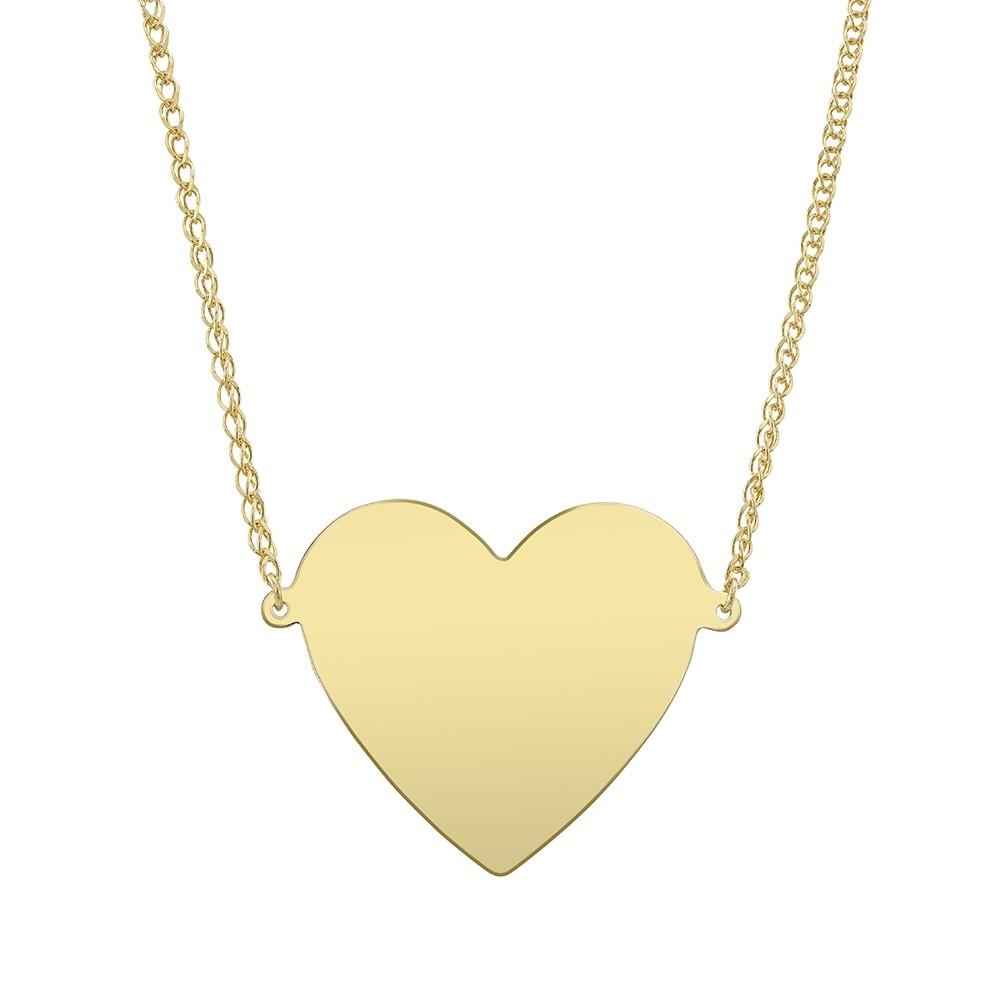 14k Yellow Gold Jumbo Floating Heart Necklace