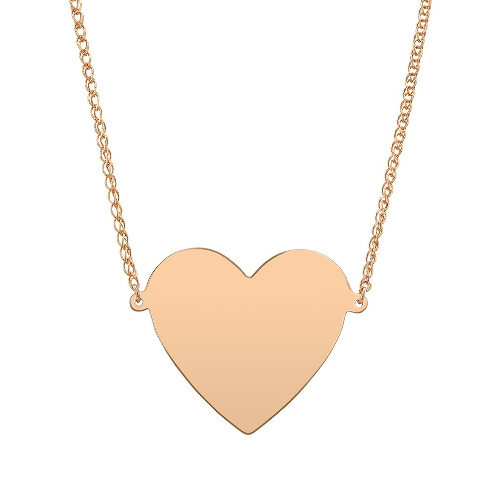 14k Rose Gold Jumbo Floating Heart Necklace