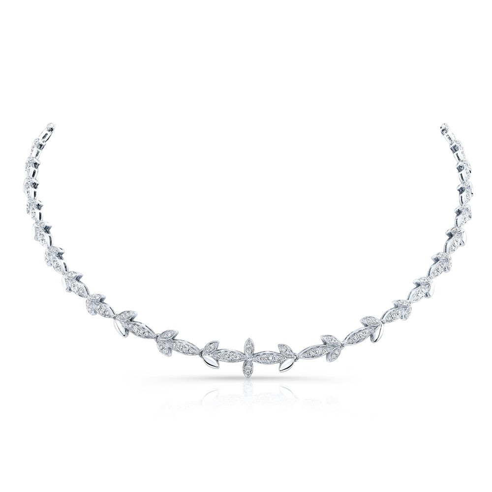 14k White Gold Diamond Leaf Necklace