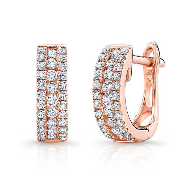 14k Rose Gold Diamond Channel Set Huggie Hoop Earrings
