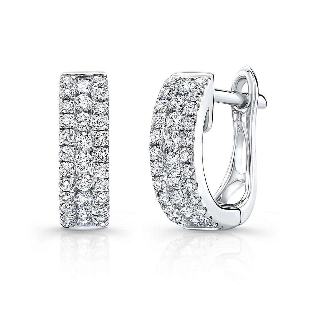 14k White Gold Diamond Channel Set Huggie Hoops